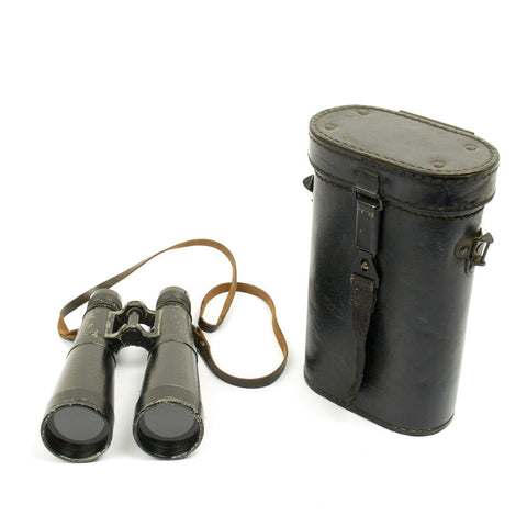 Original German WWII Hensoldt (bmj) 10x50 Dienstglas Binoculars With Case - Dated 1943