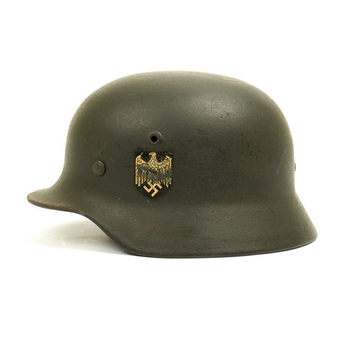Original German WWII Army Heer M40 Named Single Decal Helmet - Q64 Original Items