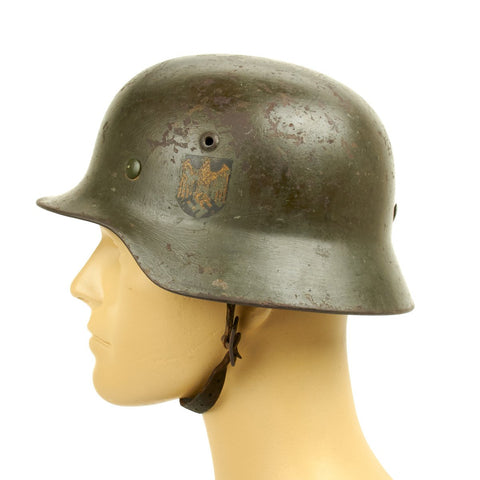 Original German WWII Army Heer M35 Named Double Decal Helmet - ET62 Original Items