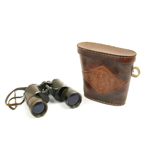Original German WWII U-Boat Kriegsmarine 7x50 Binoculars with USGI Custom Made Leather Case