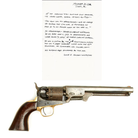 Original U.S. Civil War Colt 1851 Navy Revolver 5th Pennsylvania Cavalry Manufactured in 1863 - Matching Serial No 147247