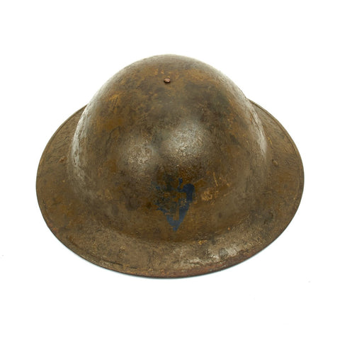 Original U.S. WWI M1917 Named Doughboy Helmet of the 36th Infantry Division Arrowhead with Textured Paint Original Items
