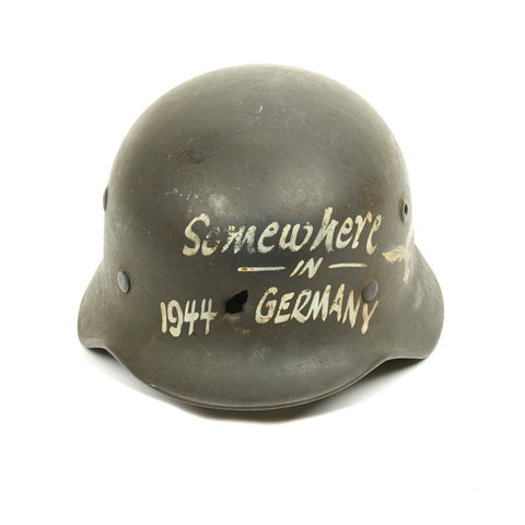 Original German WWII USGI Bring Back Shot Through Trench Art M40 Helmet - Somewhere in Germany