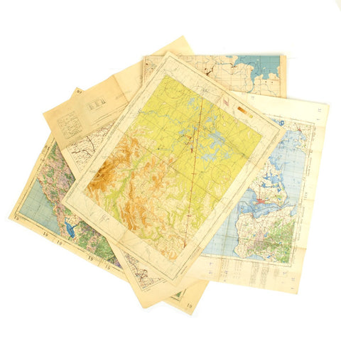 Original USAAF and British WWII War Office Color Maps of Germany, Albania, China- Set of 5