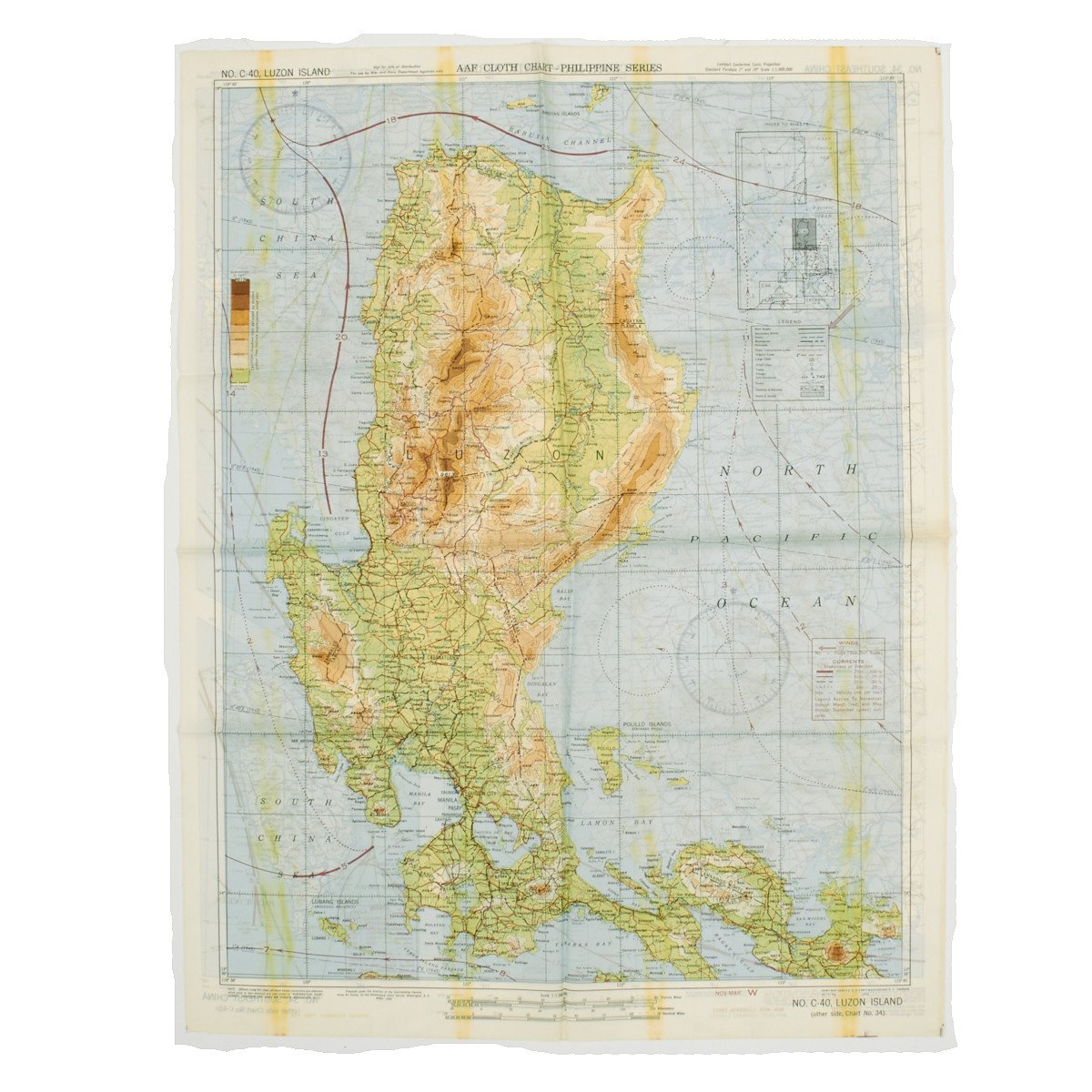 Original Us Wwii Army Air Force Silk Escape Map Chart Luzon - Us-map-chart