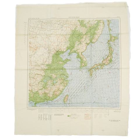 Original U.S. WWII Army Air Force Silk Escape Map Chart - Japan 1945