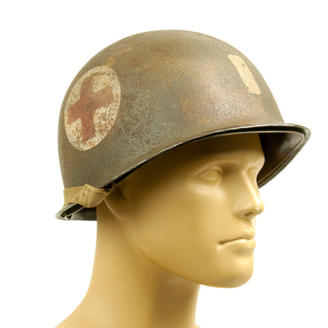 Original U.S. WWII Lieutenant Medic Helmet - M1 McCord Fixed Bail with Seaman Paper Co Liner