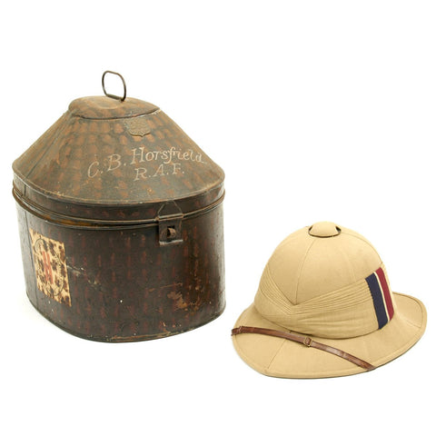 Original British WWII Named Royal Air Force Pith Sun Helmet with Transit Tin by Gieves Original Items