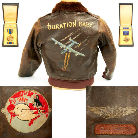 "Original U.S. WWII B-24 Liberator ""Duration Baby"" Named Leather A-2 Jacket with Medal Grouping Original Items"