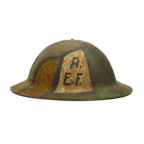 Original U.S. WWI M1917 A.E.F. Doughboy Helmet with Camouflage Textured Paint Original Items