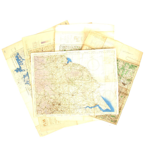 Original USAAF and British WWII War Office Color Maps of Germany, Czechoslovakia, England - Set of 5 Original Items