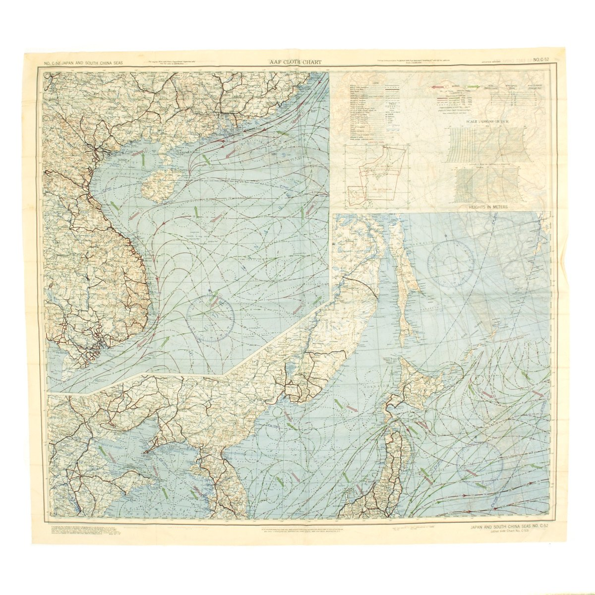 Original US WWII Army Air Force Silk Escape Map Chart Japan - Map of us and japan