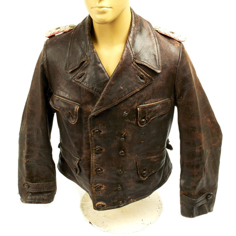 Original German WWII Officer Brown Leather 6th Panzer Division Wrap Jacket