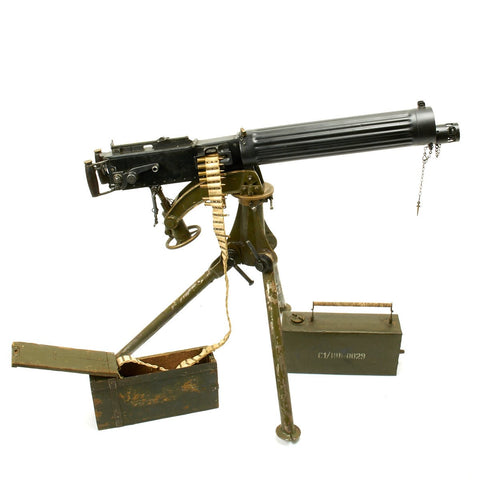 Original British WWI Fluted Vickers Display Machine Gun with Tripod and Accessories Original Items
