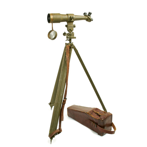 Original French WWI Longue-vue Monoculaire Telescope with Tripod - Dated 1917