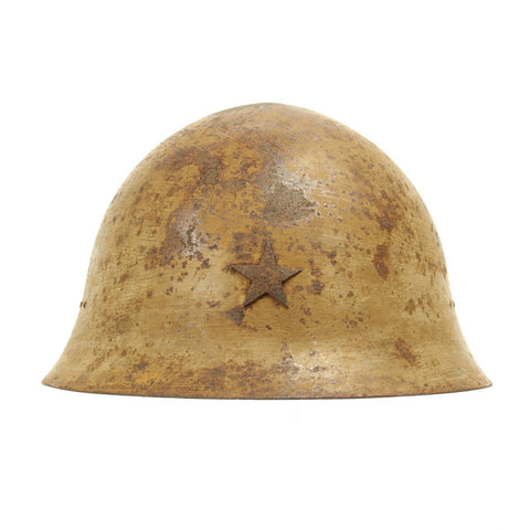 Original Japanese WWII Tetsubo Army Combat Helmet with Rare 1939 Canvas Liner and Chinstrap Original Items