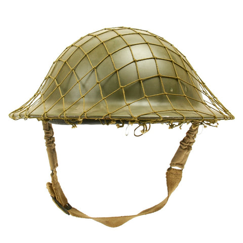 Original Canadian WWII Brodie MkII Steel Helmet with Net - Dated 1942 Original Items