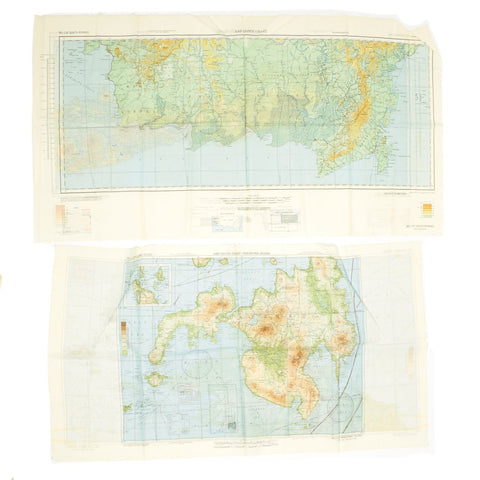 Original U.S. WWII Army Air Force Silk Escape Map Charts - North and South Borneo - Dated 1944