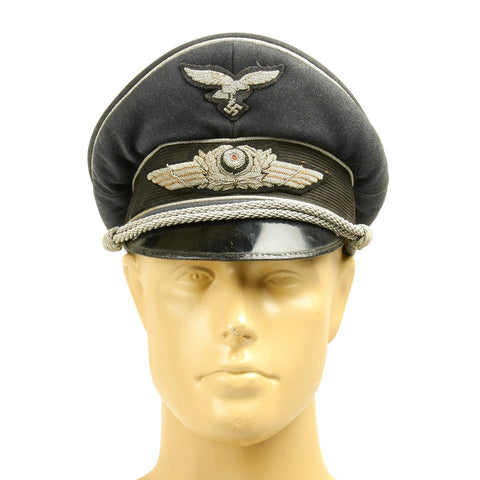 Original German WWII Luftwaffe Officer Visor Cap by Erel (Double Marked)