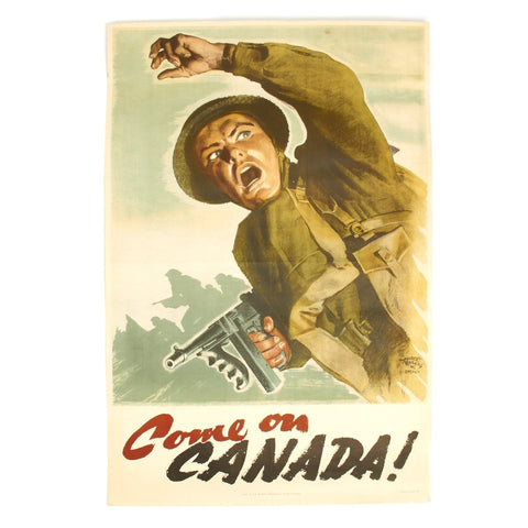 "Original Canadian WWII COME ON CANADA Propaganda Poster by Hubert Rogers  - 36"" x 24"" Original Items"
