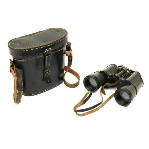 Original German WWII 7x50 Dienstglas Binoculars bmk with 1943 Dated Case