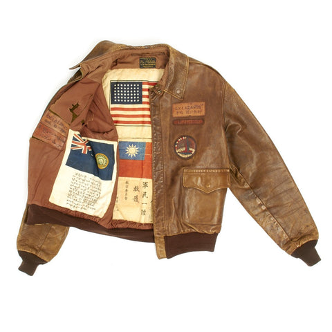 Original U.S. WWII Named China Burma India Theater A2 Leather Flight Jacket