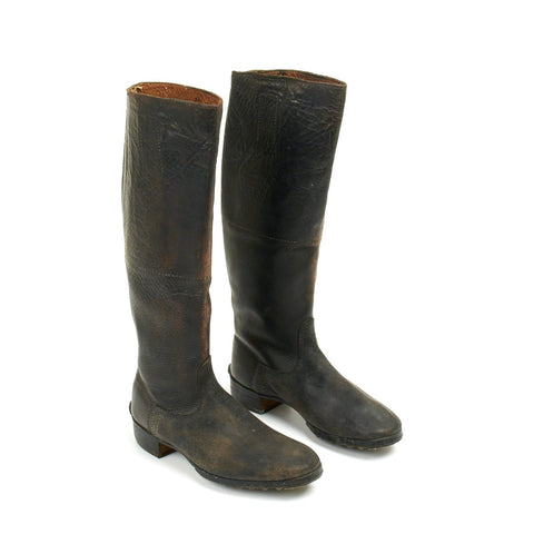Original German WWII Officer Tall Riding Hobnail Jack Boots - Maker Marked Original Items
