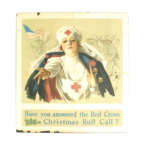 Original U.S. WWI Poster - Have you answered the Red Cross Christmas Roll Call? Original Items