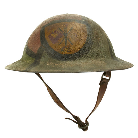 Original U.S. WWI M1917 Doughboy Signal Corps Helmet with Camouflage Paint Original Items