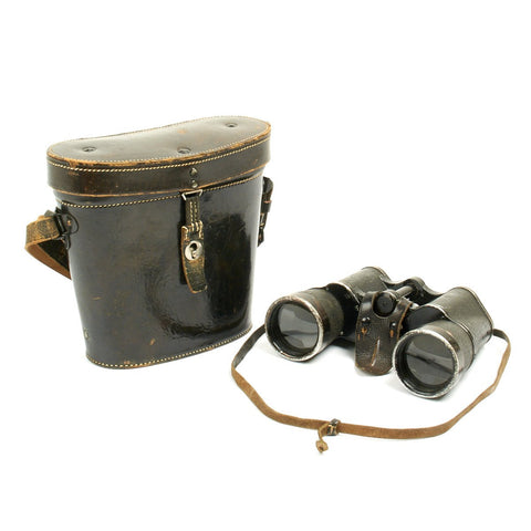 Original German WWII Carl Zeiss (blc) 10x50 Dienstglas Binoculars with Leather Case