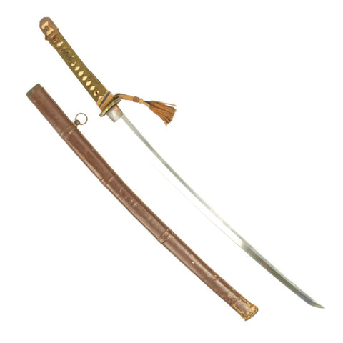 Original WWII Japanese Katana Samurai Sword - Handmade Blade by KAZUNORI with Leather Covered Scabbard Original Items