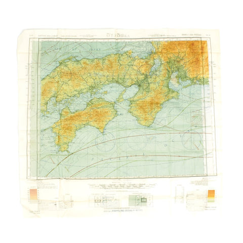 Original U.S. WWII Army Air Forces Silk Escape Map - Tokyo and Osaka 1943 Original Items