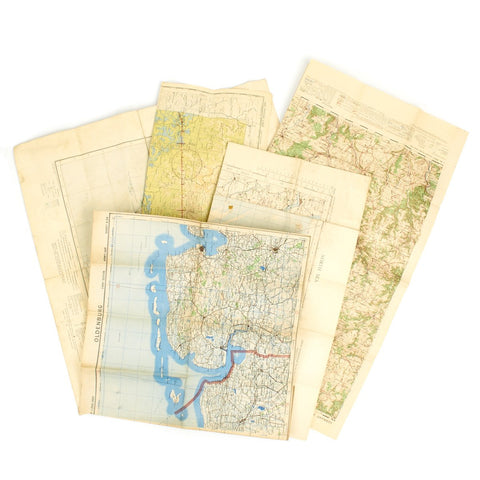 Original USAAF and British WWII War Office Color Maps of Germany, England, France, China - Set of 5