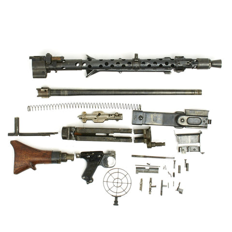 Original German WWII MG 34 Machine Gun Parts Set with Demilled Receiver - marked dot 1944