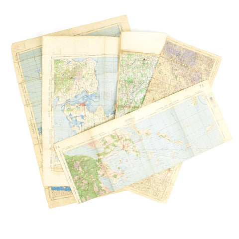 Original USAAF and British WWII War Office Color Maps of Germany, England, Sweden, Greece - Set of 5 Original Items