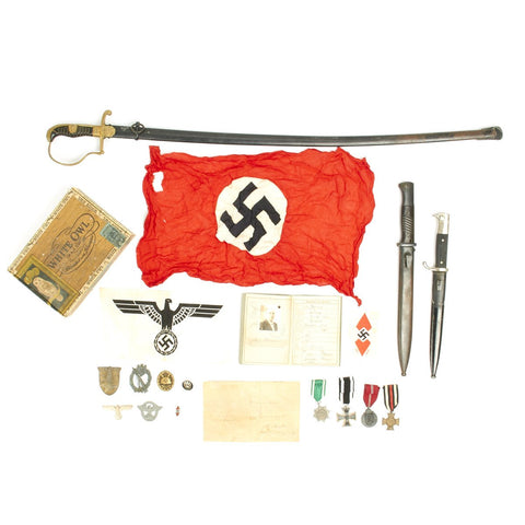 Original German WWII USGI Bring Back Grouping with Certificate - Medals, Bayonets, Sword, Insignia Original Items