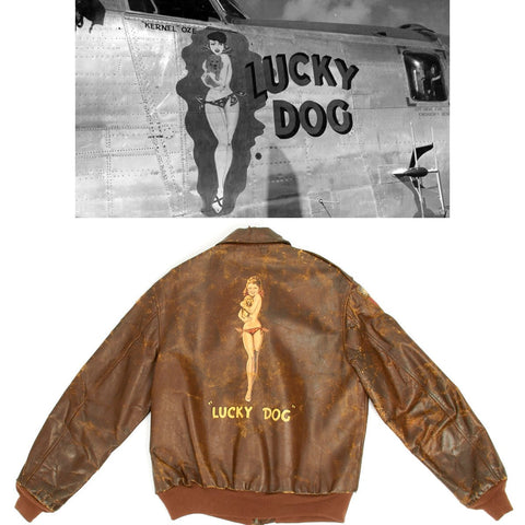 Original U.S. WWII B-24 Liberator 11th BG Lucky Dog Named A-2 Flight Jacket