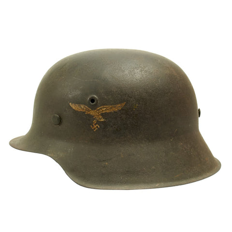 Original German WWII M42 Single Decal Luftwaffe Helmet - Shell Size 64