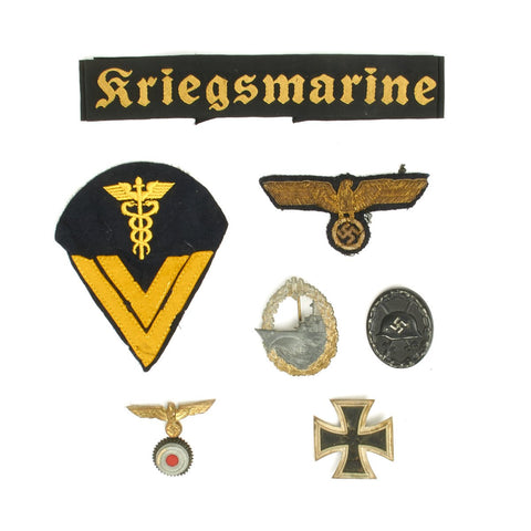 Original German WWII Kriegsmarine Naval Medal and Insignia Grouping