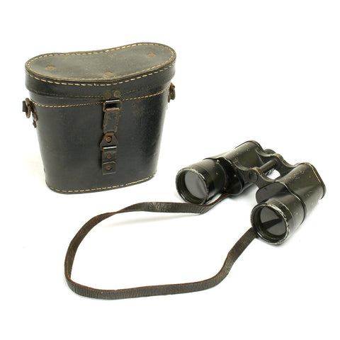 Original German WWII Carl Zeiss Jena (rln) 10x50 Dienstglas Binoculars with Leather Case