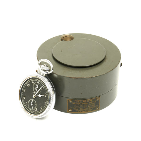 Original WWII USAAF Hamilton AN5742 Navigator Pocket Watch with Steel Aircraft Case
