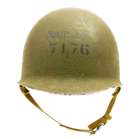 Original U.S. WWII Named M1 Schlueter Fixed Bale Helmet with Westinghouse Liner