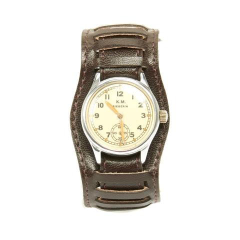 Original German WWII Kriegsmarine K.M. Wrist Watch by Siegerin - Fully Functional