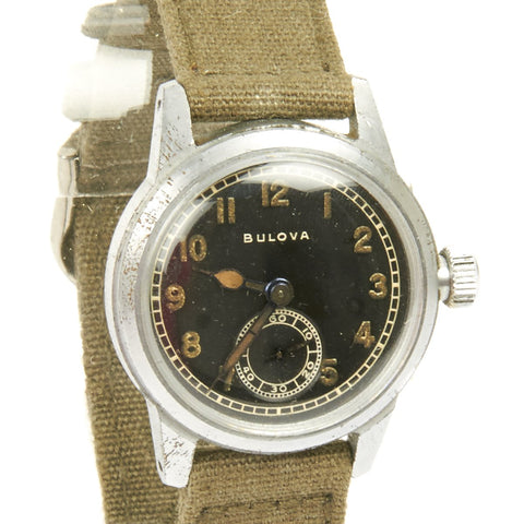 Original U.S. WWII Army 15-Jewel Wrist Watch Model 10 AK by BULOVA - Fully Functional