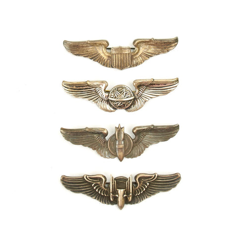 "Original U.S. WWII Army Air Force USAAF Aviator Large 3"" Wings Set - Sterling Silver"