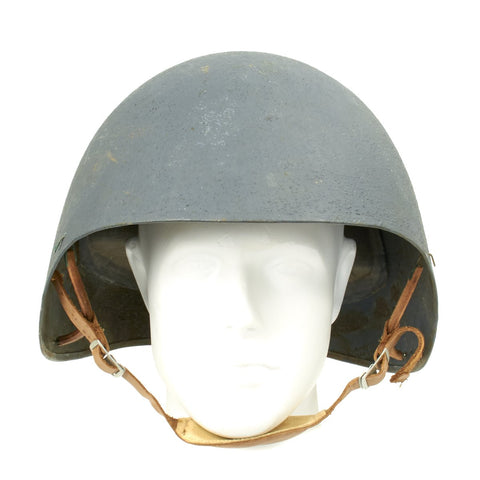 Original U.S. WWII Navy USN MK2 Talker Flak Helmet with Chin Strap Original Items