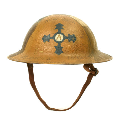 Original U.S. WWI AEF 4th Infantry Division 11th Machine Gun Battalion Trench Art Camouflage Helmet
