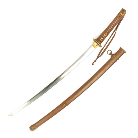 Original WWII Japanese Army Officer Katana Samurai Sword with Steel Scabbard - Handmade Signed Blade Original Items