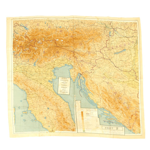 Original U.S. WWII Two-Sided Color Silk Escape Map of Western and Southern Europe 43/C 43/F Original Items