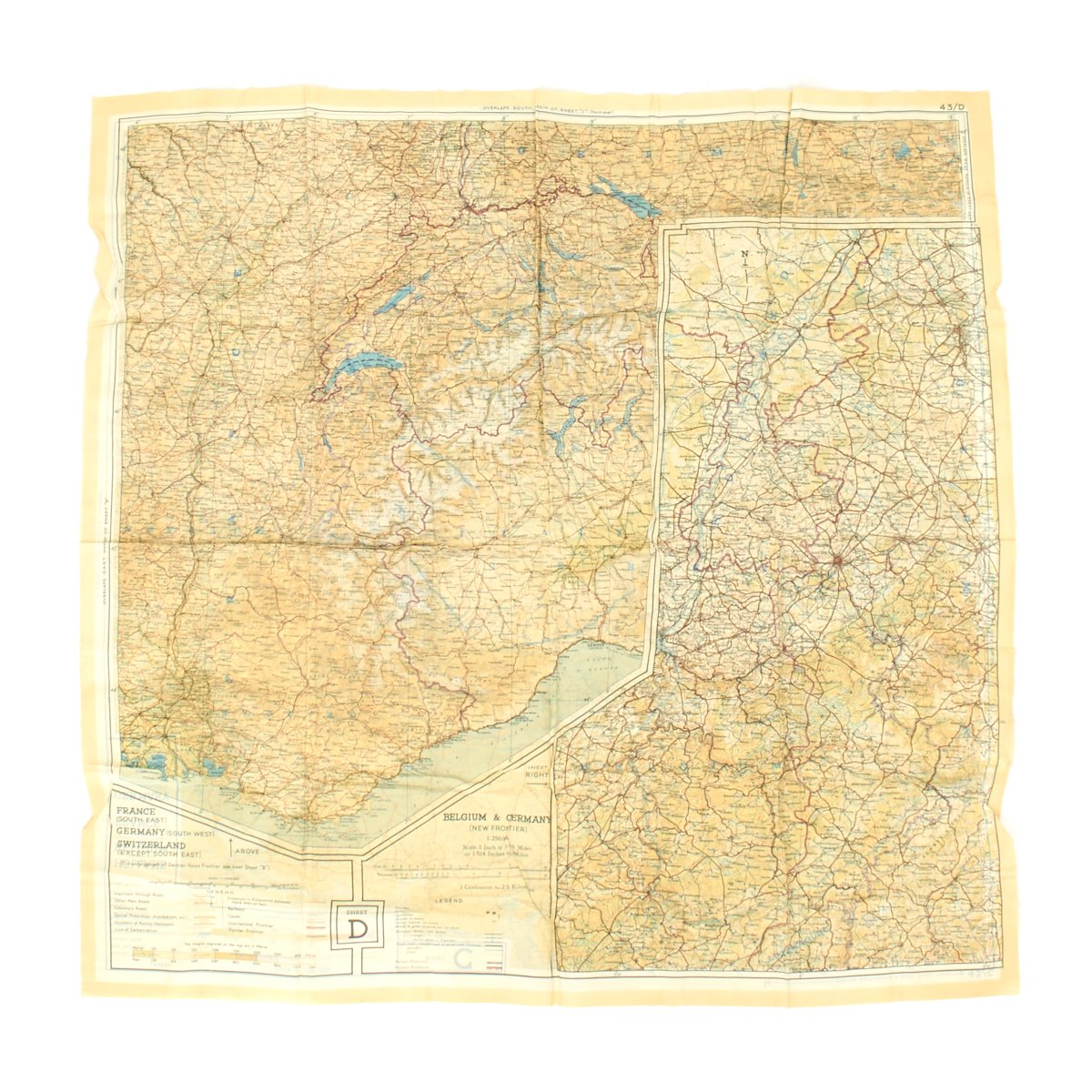 Original U.S. WWII Two-Sided Color Silk Escape Map of Western Europe ...